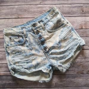 LF Carmar High Waisted Acid Wash Shorts 26